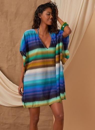 Loves You Zigzag Dantel Kimono Elbise Renkli